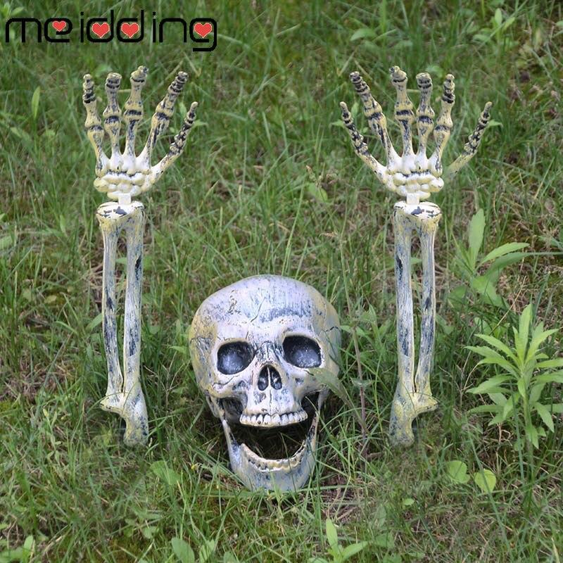 2019 Conjunto 1 Esqueleto Prop Halloween Horror Realista Plástico Ossos Humanos Crânio Estatueta Para Casa Jardim Decoração Do Partido do Dia Das Bruxas