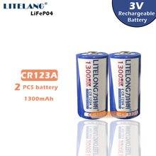 Darmowa wysyłka LITELONG 2 sztuk CR123A akumulator litowy wielokrotnego ładowania 3V CR17335 bateria litowa bateria 16340 baterii 1300mah