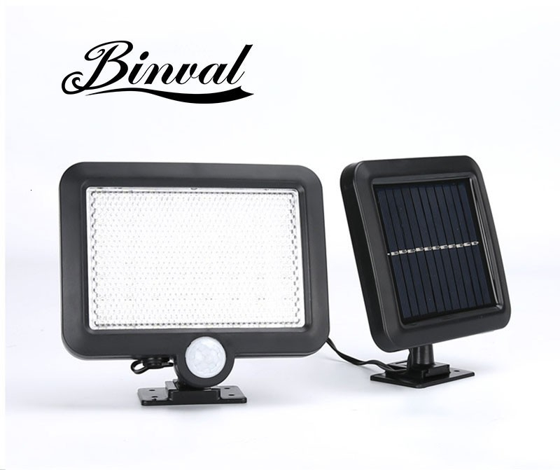 Binval 100COB 6/56 LEDs Solar Sensor Motion Garden Lawn Lamp Waterproof Outdoor Lamps Decoration Lighting Wall Solar Lamp-White
