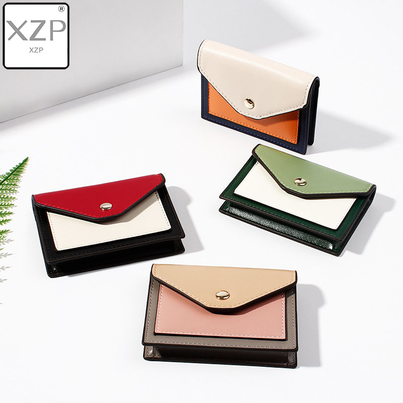 XZP 2019 Vintage Short Ladies Coin Purse PU Leather Korean Stitching Buckle Multifunction Card Package Mini Wallet