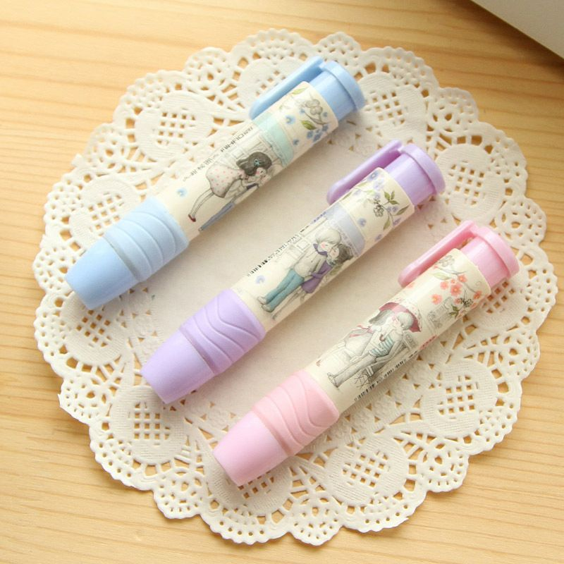 Creative Press Pen Shaped Eraser Writing Drawing Pencil Erase Rubber Student School Office Stationery Learning Accessory