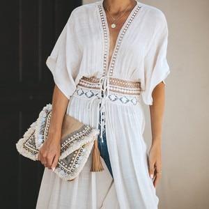 Новинка 2020 года, туника в стиле бохо, женское летнее пляжное платье, Кимоно размера плюс, халат, кружевная Длинная накидка, пляжная одежда, ма...