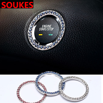 Car Styling Start Button Key Ring Diamond Ring Decorative Sticker Cover For Mercedes Benz W211 W203 W204 W210 W205 W212 W220 AMG Jaguar XE XF XJ image