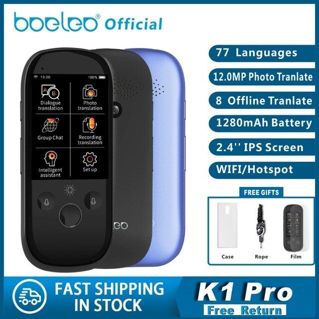 Boeleo K1 Pro Foto AI Smart Voz Tradução 77 Línguas em tempo Real Face to Face WI FI 2.4 TFT 12MP Multi função Tradutor