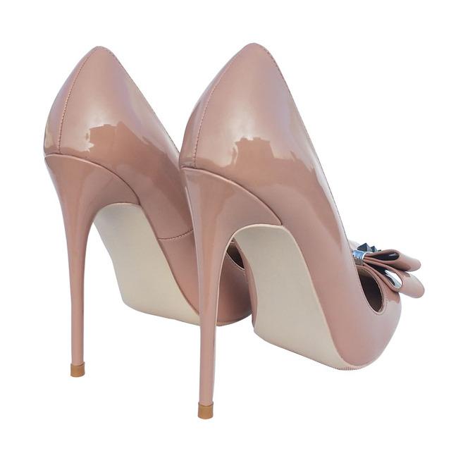 Keshangjia Nude Rivets High Heels Women Office Lady High Heels Shoes Classic Sharp Butterfly Knot High Heels Party Dress showe