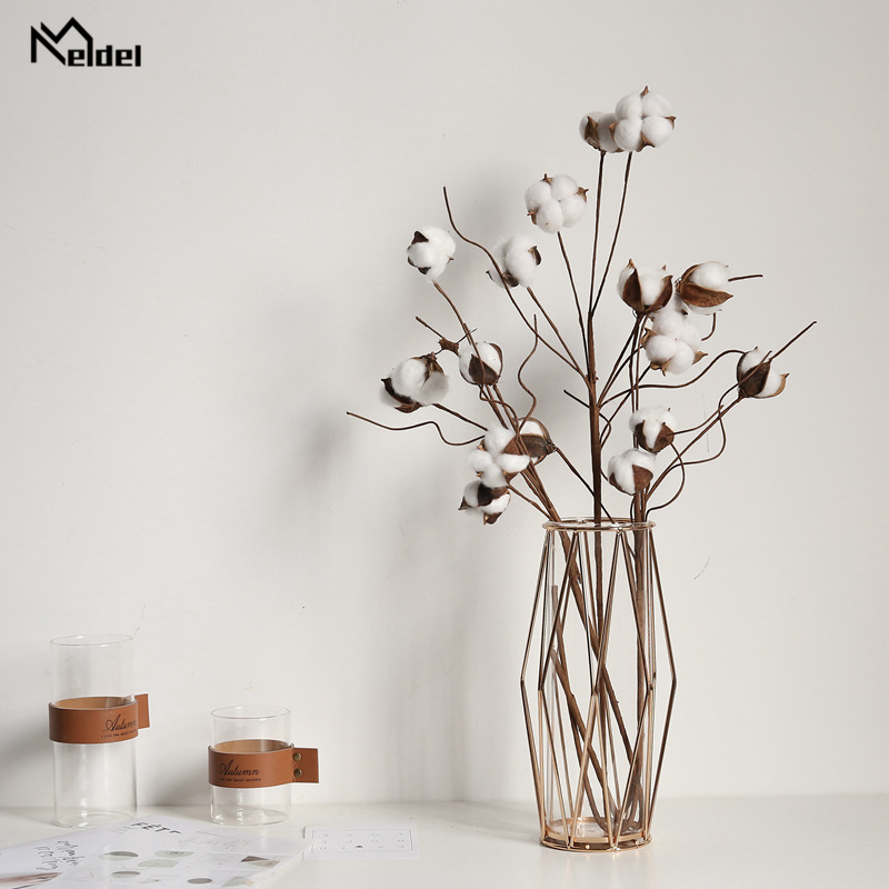 Meldel Naturally Dried Cotton Stems DIY Bouquet Artificial Flower Filler Floral Decor Simulation Flower Home Wedding Decorations