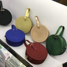 Luxury Weaving Design Handbags Women's Scrub Pvc Jelly Shoulder Bags Ladies Round Hand Bags For Women Pu Leather Messenger Bag