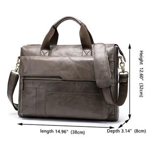 Image 2 - MVA mens briefcase Genuine Leather laptop bag mens leather bag office bags for men laptop briefcase lawyer men bags 8615