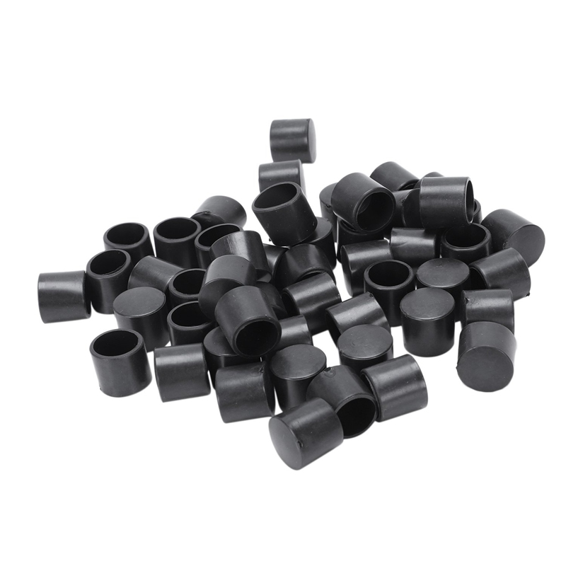 50 Pcs Black Rubber PVC Flexible Round End Cap Round 12mm Foot Cover