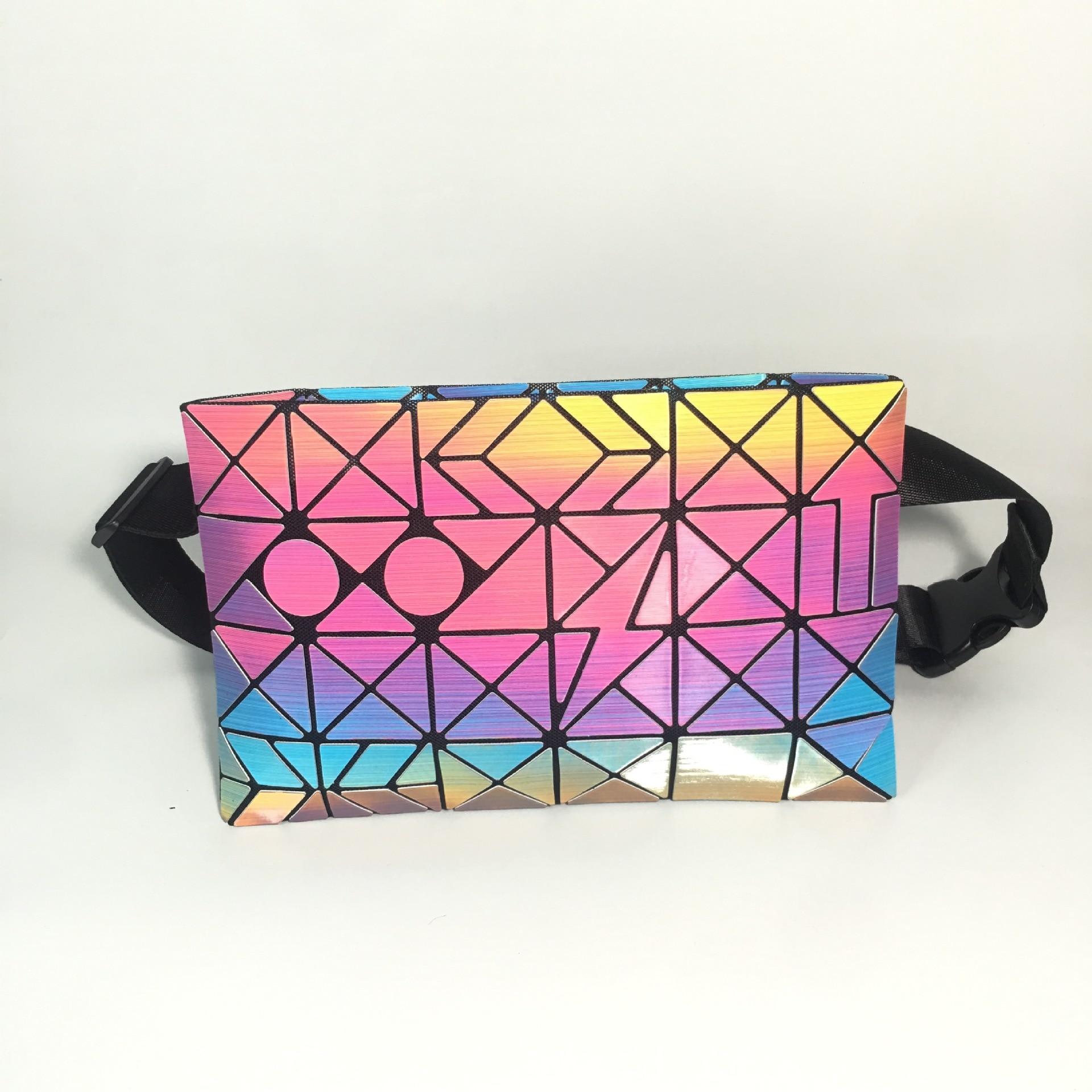 2020 Hot 3D Rainbow Laser Sports Women's Waist Bag Irregular Geometric Cell-phone Chest Bag Cube Diamond Grid Pattern Small Bags