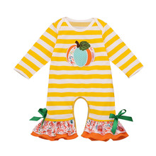 Toddler Baby Kids Girls  Fall clothes girls halloween outfits pumpkin Striped Ruched Jumpsuit Romper Clothes 9.4