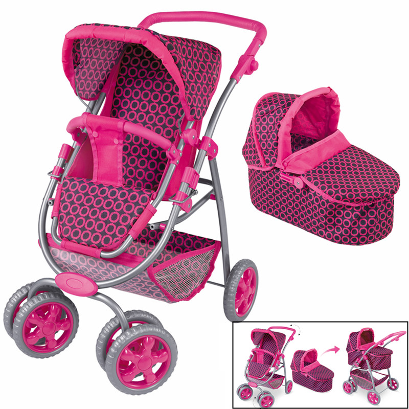 Kids Baby Doll Stroller Pram Carriage Toy Bassinet 3 in 1 Pretend Play Furniture