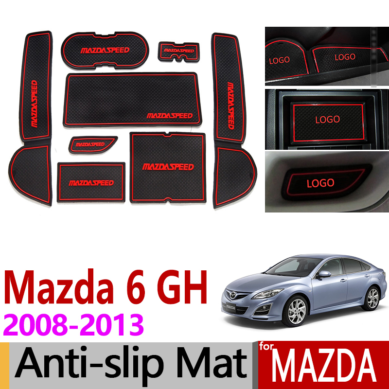 For Mazda 6 2008~2013 GH Anti-Slip Rubber Cup Mats Gate Slot Mat 2009 2010 2011 2012 Sedan Wagon Accessories Sticker Car Styling