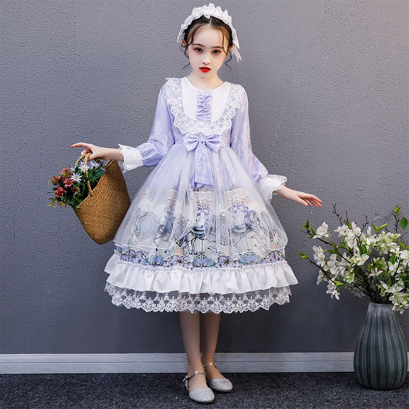 Kids Summer Lolita Dress Toddler Princess Dresses for Kids Baby Girls Spanish Birthday Wedding Party Christmas Boutique Robe