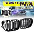 Для BMW E87 1 серия 2008 2009 2010 2011 2012 2013 пара новая глянцевая черная 2 двойная планка Линия Передняя почечная гоночная решетка гриль