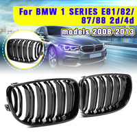For BMW E87 1 Series 2008 2009 2010 2011 2012 2013 Pair New Gloss Black 2 Double Slat Line Front Kidney Racing Grill Grille