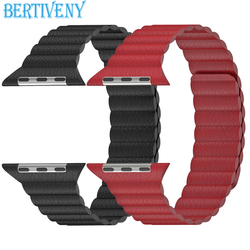 Genuine Leather Loop band For Apple Watch 38mm 40mm 42mm 44mm Strap For iwatch series 4 3 2 1 Adjustable Magnetic Wrist Bracelet|Watchbands| |  - title=
