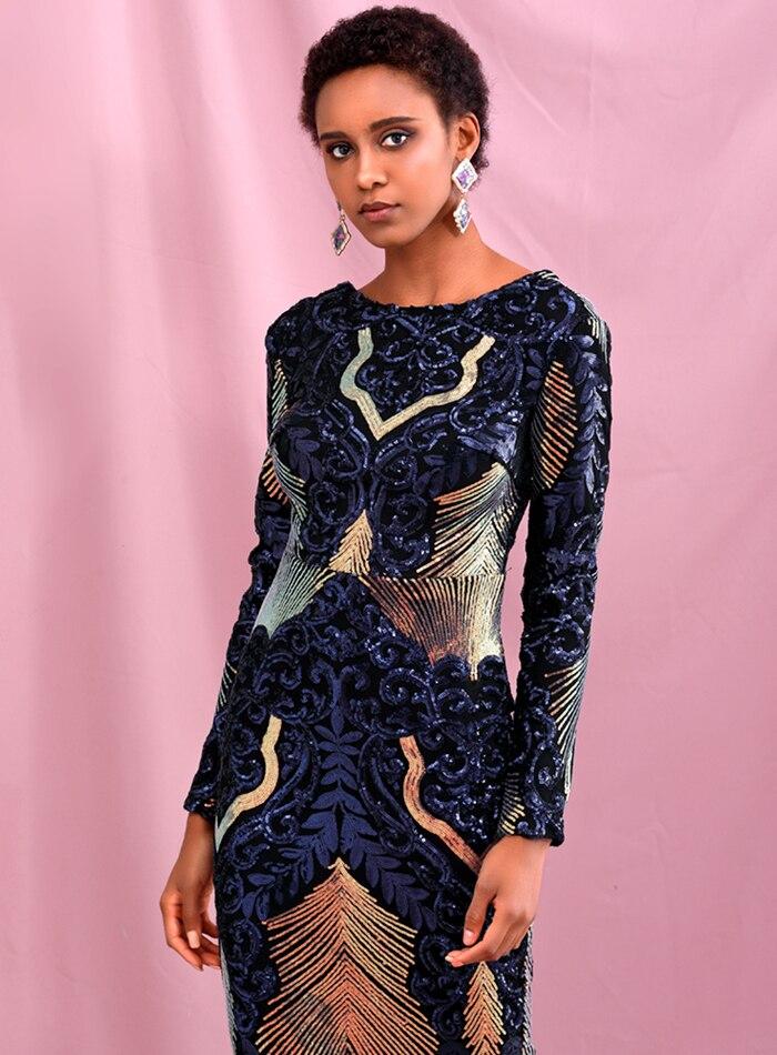 ReinaLiza Geometric Element Sequins Party Maxi Dress