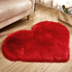 Love Heart Shape Fur Rugs Shaggy Carpet Long Hairy Rug Blue White Pink Artificial Wool Sheepskin Baby Room Bedroom Soft Area Mat
