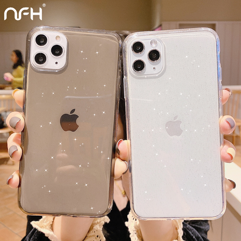 NFH Luxury Glitter Transparent Silicone Phone Case For iPhone XR XS 11 Pro Max Soft Protection Back Cover On 6S 7 8 Plus Shell