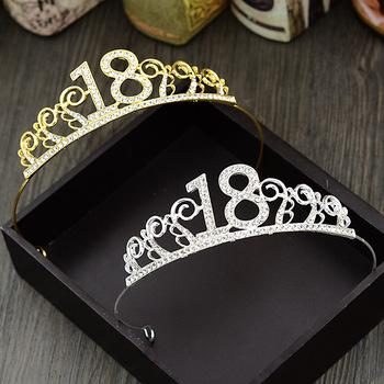 1 sztuk 18th urodziny księżniczka opaska z koroną kryształ ślub korony Hairband kobiety nakrycia głowy ozdoby do włosów tanie i dobre opinie Birthday party Rocznica FXH1394
