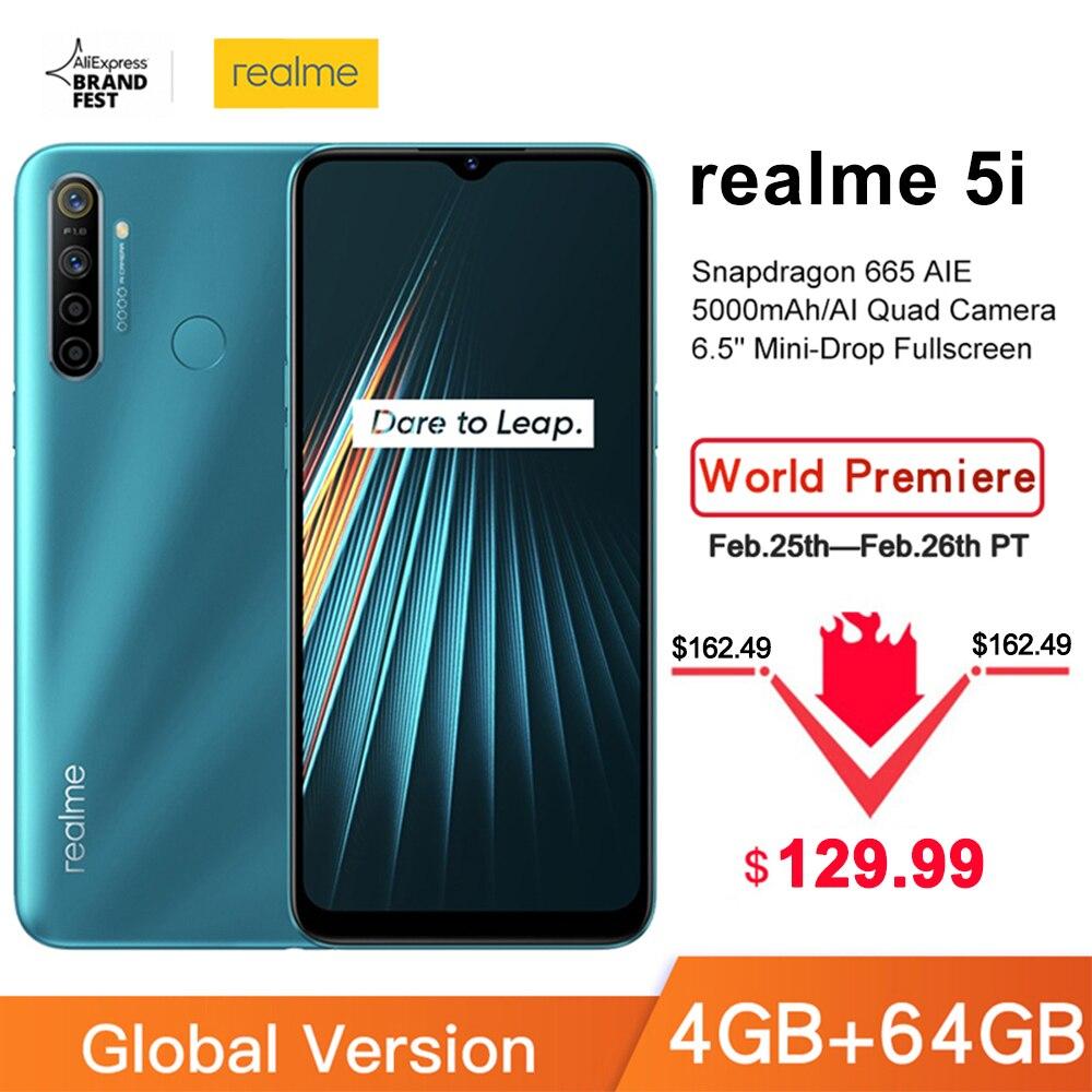 Global Version Realme 5i 4GB RAM 64GB ROM Mobile Phone Snapdragon 665 AIE 12MP Quad Camera 6.5'' Cellphone 5000mAh Smartphone