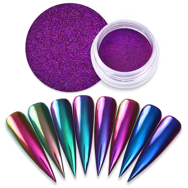 1 kutu ayna tozu tırnak sanat Glitter bukalemun pigment tozu Nail İpuçları dekorasyon aksesuarları jel lehçe toz