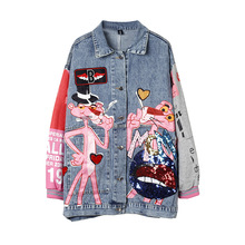 Spring autumn fashion sequins cartoon leopard denim jackets loose Lady streetwear coats