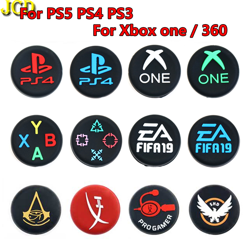 JCD 2PCS Silicone Analog  Joystick Cap For PS5 PS3 PS4 Pro Slim Thumb Stick Grips Cover For Switch Pro Xbox 360 One Controller