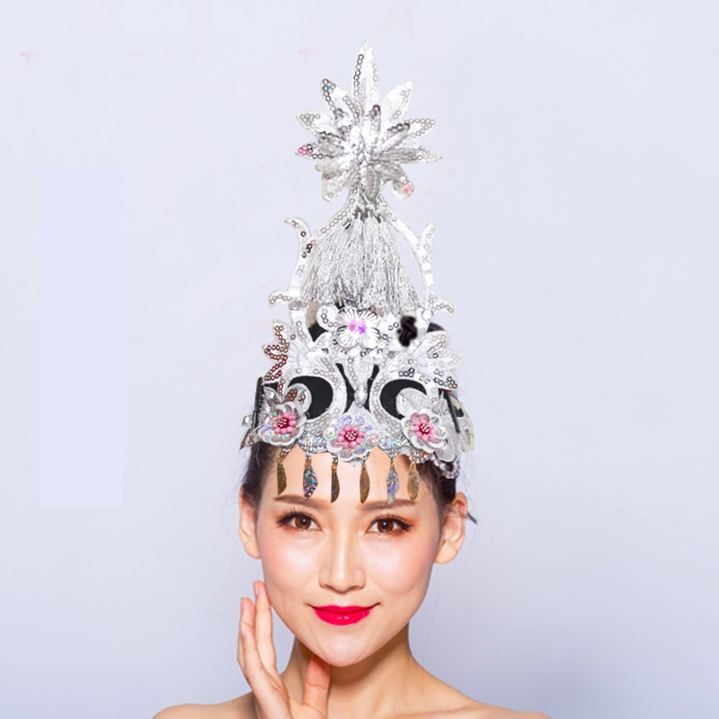Classical Square Dance Headdress Classical Chinese Folk Dance Sequined Yangko Opening Dance Headpiece Dance Accessories