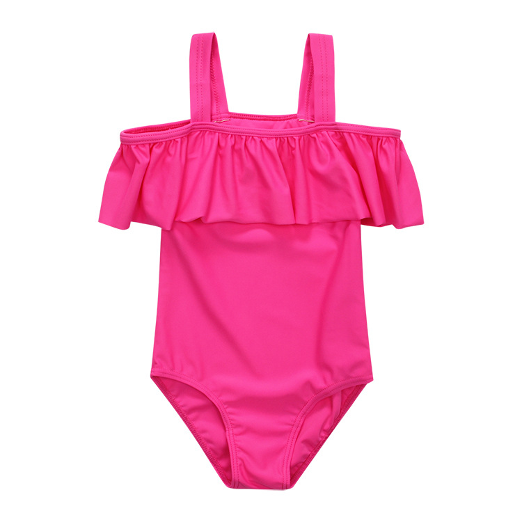 Cross Border Amazon Swimwear Girls Off-Shoulder Siamese Swimsuit Currently Available A Generation Of Fat GIRL'S Swimsuit