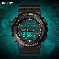 Impermeable de los hombres chico LCD cronómetro Digital multifunción Pantalla de reloj LED fecha reloj de calendario Fecha de goma correa de reloj