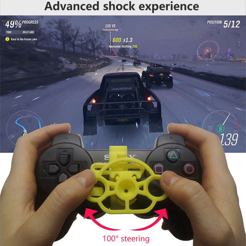 New 3 in 1 Vibration Rumble Gaming Racing Steering Wheel Pedal PC USB PS2 PS1 image