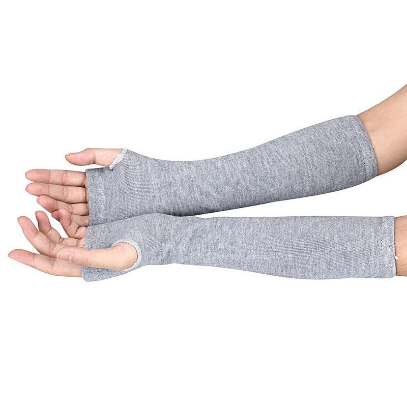 Lady Stretchy Soft Knitted Wrist Arm Warmer Long Sleeve Fingerless Gloves Striped SER88