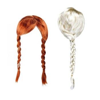 Girls Elsa Anna Wig Snow Queen 2 Kids Rapunzel Jasmine Children Aurora Moana White Beautiful Hair