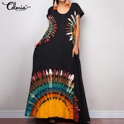 2021 celmia verão das mulheres do vintage impressão camisa longa vestido de manga curta casual solto férias maxi vestido plus size robe vestidos 5xl