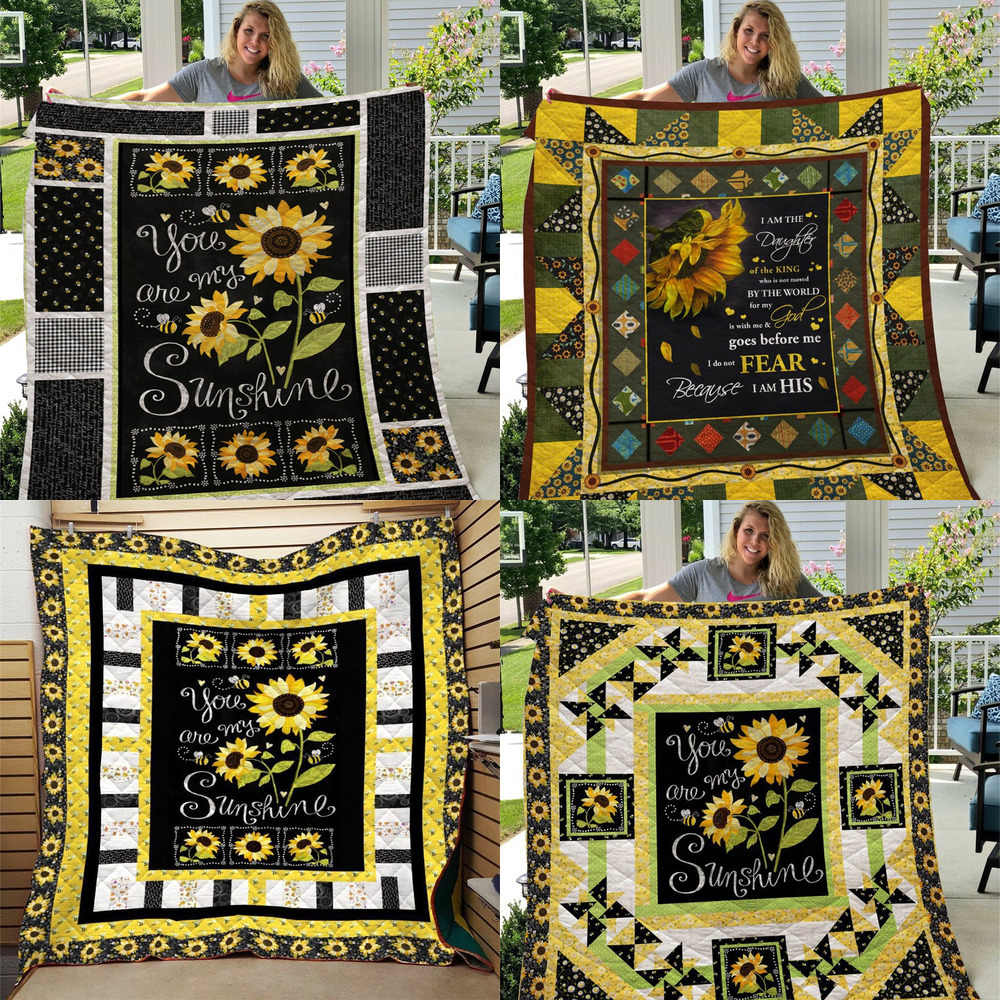 SOFTBATFY Sunflower Print All Season Quilt For Kids Adult Bed Soft Warm Blanket Quilt Dropshipping