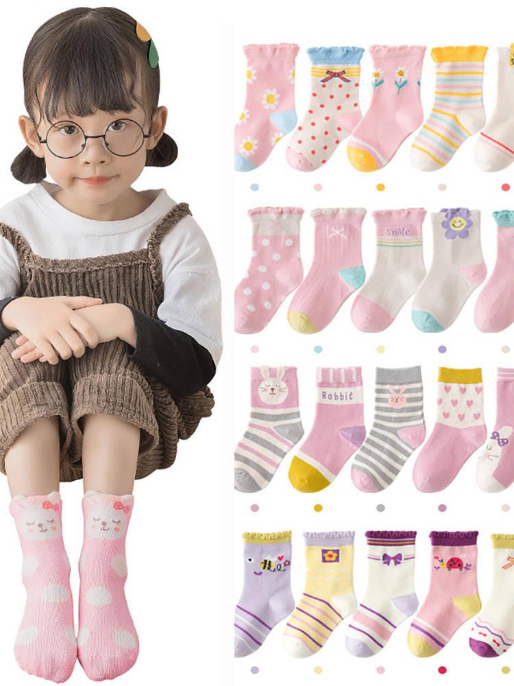 Infant Toddler Socks Baby-Girls Soft Cotton Cartoon Cute 5-Pairs/Lot Kawaii Thicken