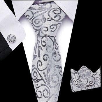 Mens 100% Silk Designer Skinny Silver Grey  Pocket Square Handkerchief Butterfly Bow Tie Ties Set Lots Free shipping