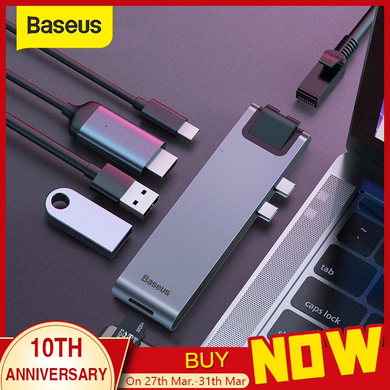 Baseus USB C HUB USB HUB To USB 3.0 HDMI Adapter USB Splitter For MacBook Pro Thunderbolt 3 Dock RJ45 Dual USB Type C HUB Dex