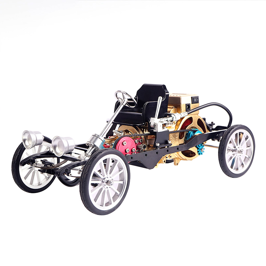 Teching All-aluminum Single-cylinder Engine Car Model High Challenge Simulation Mini Car Assembly Model 2019 Adult Gift