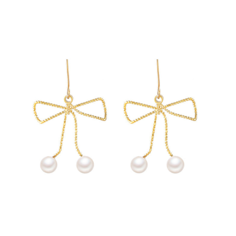 Fashion Tassel Earrings Temperament Simple Imitation Pearl Drop Earrings for Women Sexy Bow knot Earrings Summer Holiday Gift in Drop Earrings from Jewelry Accessories