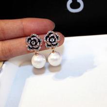 Exquisite Flowers Pearls Luxury Famous Brand Boucles Jewelry Earrings For Women Rhinestone Rose Fancy Earring