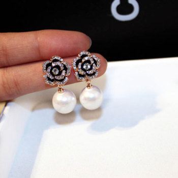 Exquisite Flowers Pearls Luxury Famous Brand Boucles Jewelry Earrings For Women Rhinestone Rose Fancy Earring