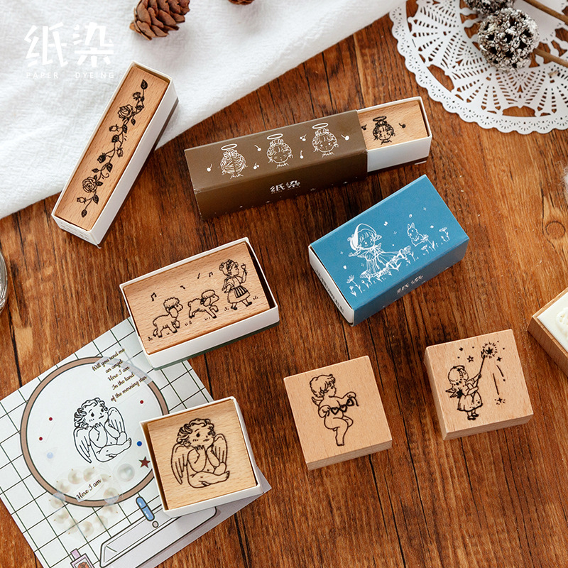 Vintage Little Angel Series Flower Decoration Stamp Wooden Rubber Stamps For Scrapbooking Stationery DIY Craft Standard Stamp