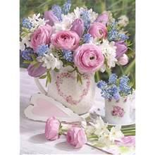 Gatyztory Рамка diy живопись по номерам розовый цветок ручная