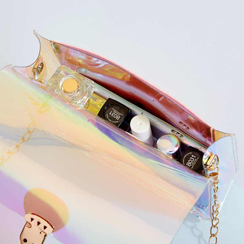เลเซอร์โปร่งใสPVCไหล่กระเป๋าผู้หญิงMINI Totesกระเป๋าถือโซ่Messengerกระเป๋าสุภาพสตรีCLUTCHชายหาดกระเป๋าLadyกระเป๋า