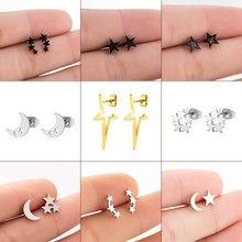 Koreański proste trzy gwiazdki kolczyki dla kobiet dziewczynki moda kolczyki biżuteria złoty kolor mała gwiazda szpilki kolczyki Piercing 2020