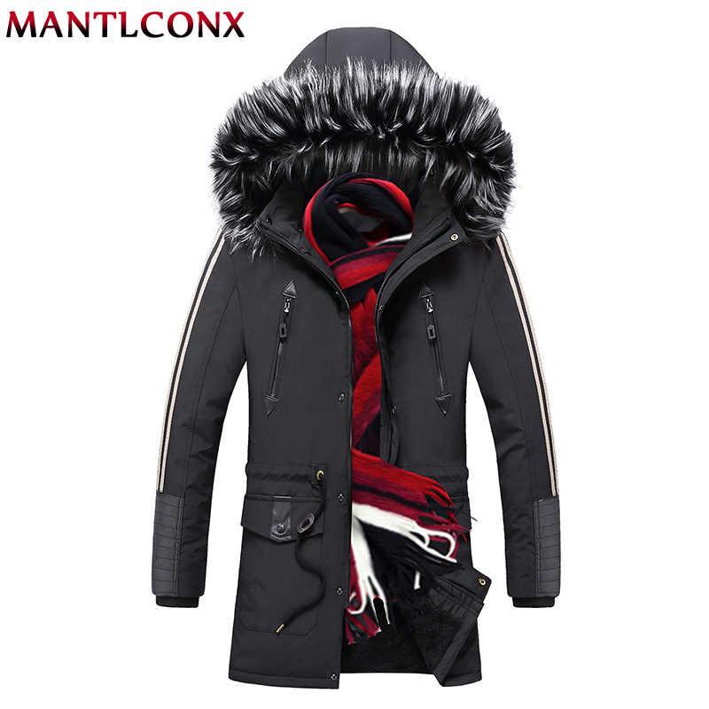 MANTLCONX עבה Mens חורף Parka עם פרווה הוד אופנה מותג חם רוכסן ארוך מעיל גברים Windproof מעיל זכר מרופד מעילים