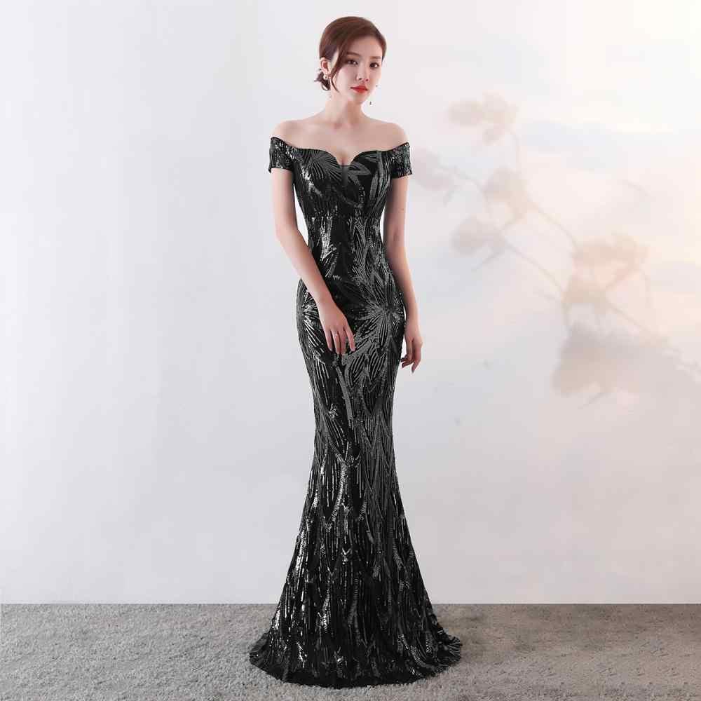 2020 Vestido De Noche 단순한 Abiti Da Cerimonia Donna Sweetheart 반팔 인어 스팽글 긴 파티 여성 이브닝 드레스